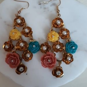 Gold  colorful  rose earrings